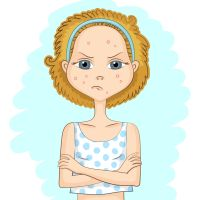 Girl with problem skin and with sad displeased face is keeping her arms crossed over her chest, on blue background. Skin care and beauty concept